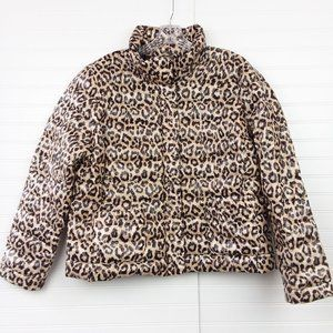 Lands' End Leopard Down Insulated Puffer Jacket